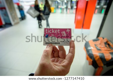 Brussles, Belgium - April 18, 2016 - Brussels day pass to subway, bus and other transport #1277147410