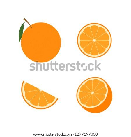 Set of orange fruit : half , slime, piece, orange in peel. Vector illustration. Flat design for business financial marketing banking advertising web concept cartoon illustration. #1277197030