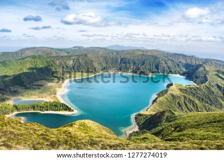 "Beautiful view of Seven Cities Lake ""Lagoa das Sete Cidades"" from Vista do Rei point in São Miguel Island - Azores - Portugal #1277274019"