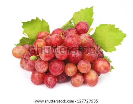 Cluster of  grapes with leaves on a white background #127729535