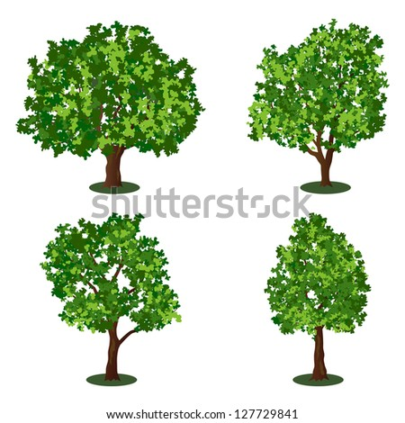 Set of abstract trees. Raster version of vector illustration.