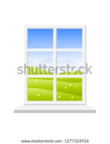 Spring window. View of the spring landscape: field with flowers, mountains and blue sky. Vector illustration on white background. #1277324926