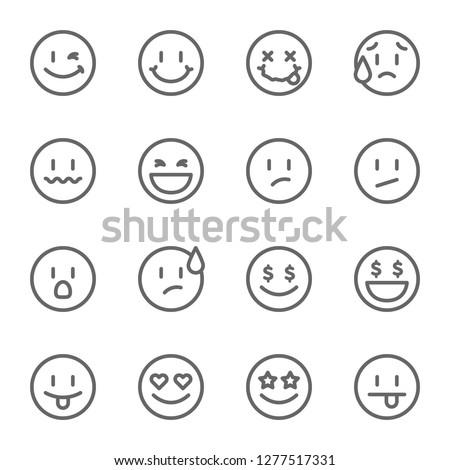 Set of outline emoticons, emoji isolated vector illustration #1277517331