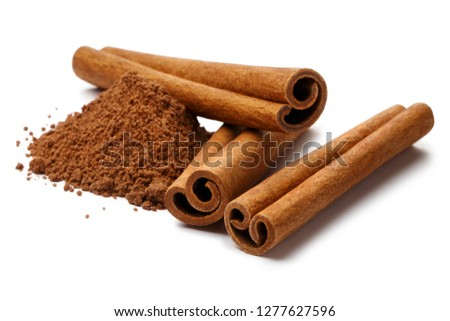 Cinnamon sticks and powder, isolated on white background #1277627596