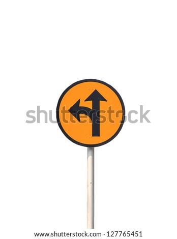 Sign circle turn left and go to. Royalty-Free Stock Photo #127765451