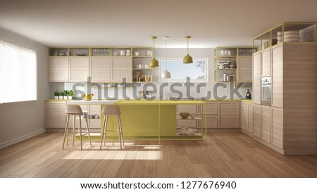 Modern white and yellow kitchen with wooden details and parquet floor, modern pendant lamps, minimalistic interior design concept idea, island with stools and accessories, 3d illustration #1277676940