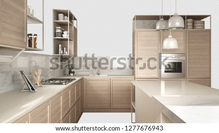 Modern white kitchen with wooden details, island with stools, interior design concept idea, isolated on transparent background with copy space, minimalist furniture, 3d illustration #1277676943
