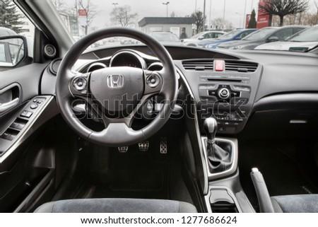 POZNAN, POLAND-JUNI 26, 2018: The interior of the Honda Civic. #1277686624
