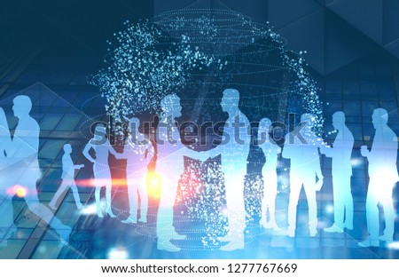 Light blue silhouettes of business people shaking hands and discussing work over skyscraper background with schematic planet hologram. International business concept. Toned image double exposure #1277767669