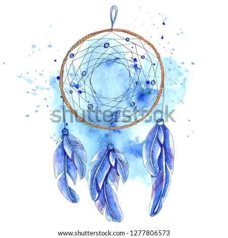 Watercolor dreamcatcher isolated on white background. Perfect for design of wedding invitations, greeting cards, postcards, invitations, children's books.