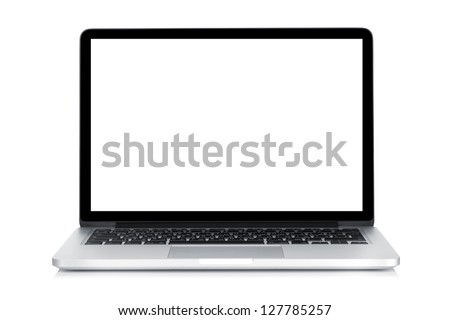 Laptop with blank white screen. Isolated on white background #127785257