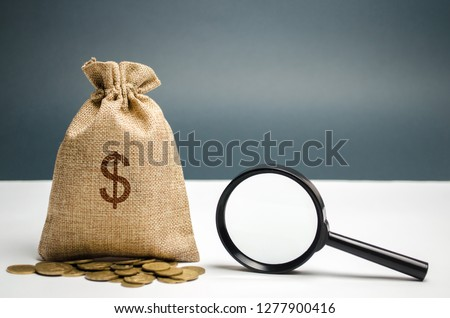 Money bag with dollar sign and magnifying glass. The concept of finding sources of investment and sponsors. Charitable funds. Startups and crowdfunding. Search for available loans. Find a job.