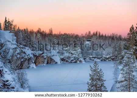 Marble kanyon in Ruskeala, Karelia in winter, Russia #1277910262