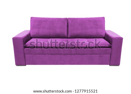 Three seats cozy color fabric sofa isolated on white background #1277915521