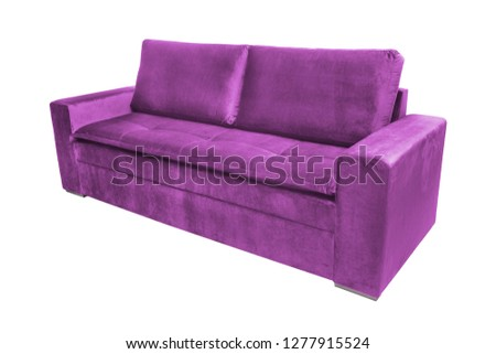 Three seats cozy color fabric sofa isolated on white background #1277915524