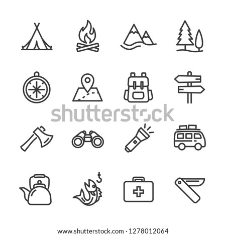 Camping activities line icon vector image Royalty-Free Stock Photo #1278012064
