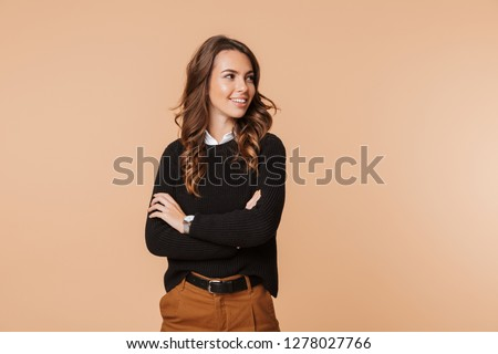 Image of a beautiful amazing happy emotional woman posing isolated. #1278027766