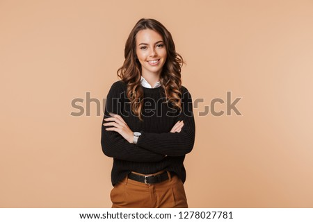 Image of a beautiful amazing happy emotional woman posing isolated. #1278027781
