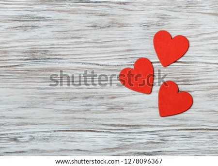 Love concept for mother's day and valentine's day. Valentine. Love. Valentine's Day postcard. Happy Valentine's day hearts on wooden background. Valentine card with space for text #1278096367