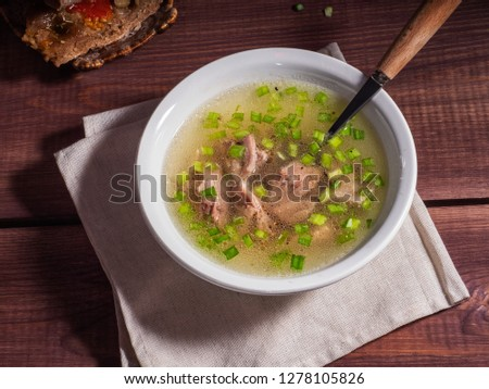 Lunch from hot broth with turkey #1278105826