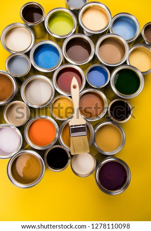 Paint can and paintbrush, yellow background #1278110098