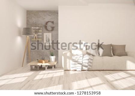 White modern room with sofa. Scandinavian interior design. 3D illustration #1278153958