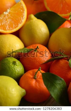 heap of assorted citrus fruit, fruit rich in vitamin C and antioxidant - closeup #1278206383