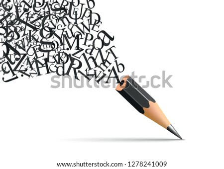 Concept of writing and literature with a pencil from which escapes the letters of the alphabet symbol of inspiration Royalty-Free Stock Photo #1278241009