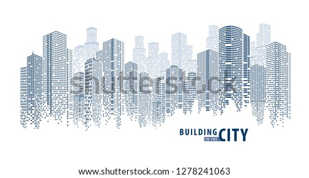 Abstract Futuristic City vector, Digital Cityscape. transparent city landscape, Dots Building in the City, sci-fi, skyline Perspective, Architecture vector Royalty-Free Stock Photo #1278241063