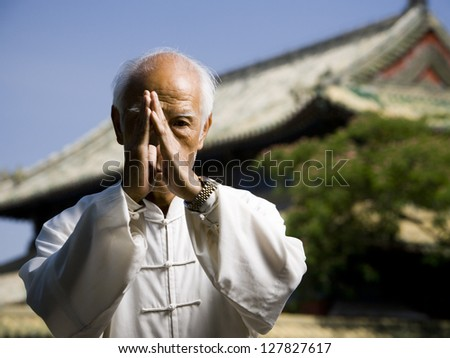 Man doing Kung Fu outdoors with pagoda in background Royalty-Free Stock Photo #127827617