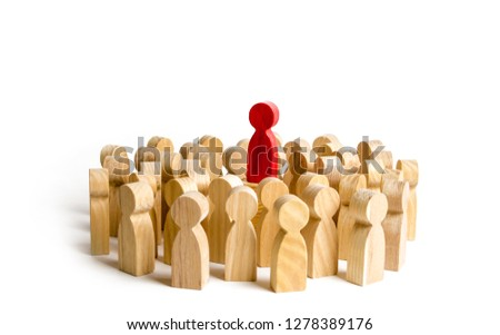 Red figure leader stands at the head of the crowd. Business concept of leader and leadership qualities, Business concept of leader and leadership qualities, crowd management. cooperation and meeting #1278389176