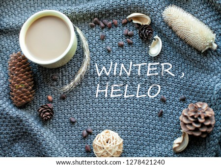 Winter morning with coffee and some decorations #1278421240
