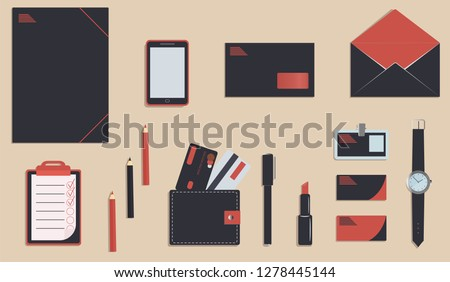 Business stationery in corporate identity trendy colors. A planner or to do list and folder. Pencils and pen. A wallet. Wrist watch. Credit cards. Mobile phone. Vector illustration. Branding design #1278445144
