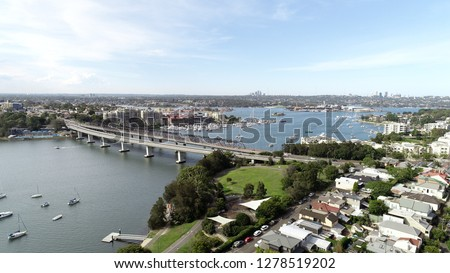 Aerial view of Iron Cove Bridge and Rozelle in Sydney, NSW, Australia  #1278519202