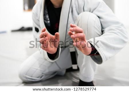 Brazilian Jiu JItsu BJJ WHite Belt Fighter In A Fighting stance #1278529774