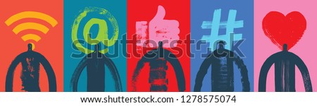 Five Head & Shoulders Silhouettes, Vector Illustration, Grunge texture, Social Media Symbols, Colorful Background, Marketing, Influencer, Instagram Followers, Facebook likes, Digital media, Web banner #1278575074