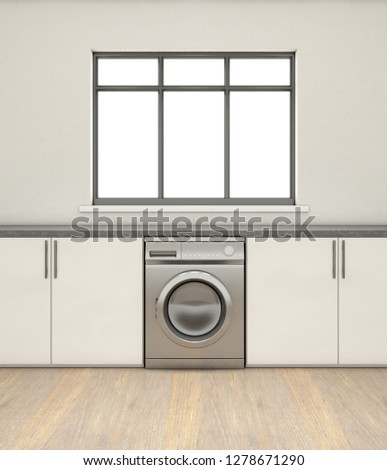 An interior of a very clean empty kitchen with a row of built in cupboards and a generic washing machine - 3D render #1278671290