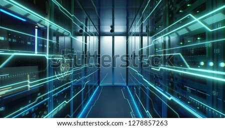 Dolly shot of the interior of a data center with glowing circuit board lines running along the wall Royalty-Free Stock Photo #1278857263