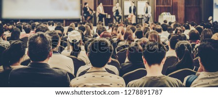 Banner of Abstract blurred photo of conference hall or seminar room with attendee background #1278891787