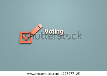 3D illustration of Voting, orange color and orange text with grey background. #1278977125