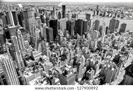 Aerial view of Manhattan, New York City. USA. Royalty-Free Stock Photo #127900892