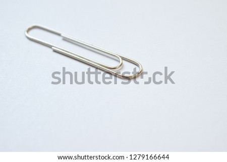 Paper clips close up on white background - selective focus -images #1279166644