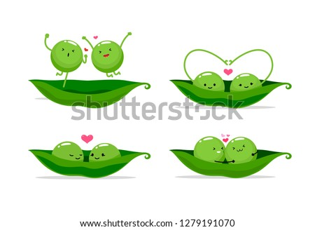 two peas in a pod. Vector illustration Royalty-Free Stock Photo #1279191070