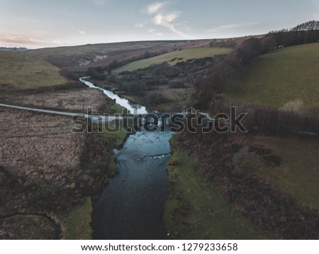Aerial photos of Landacre Bridge, Exmoor National Park. Royalty-Free Stock Photo #1279233658