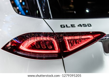 Paris, France, October 02, 2018: metallic white all new Mercedes Benz GLE 450 4Matic at Mondial Paris Motor Show, produced by Mercedes-Benz #1279395205