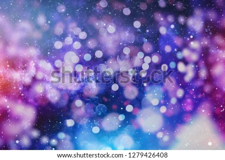 abstract blurred of blue and silver glittering shine bulbs lights background:blur of Christmas wallpaper decorations concept.xmas holiday festival backdrop:sparkle circle lit celebrations display #1279426408