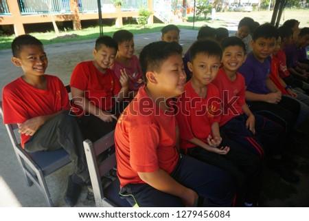 Papar Sabah Malaysia - Jan 9, 2018 : Photo of Primary school students in SK Tampasak, Kinarut, Papar.  #1279456084