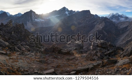Amazing view from Gokyo Ri mountain, sunset time #1279504516