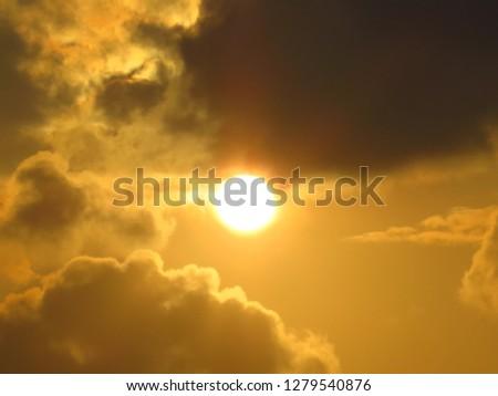 views of dusky sun at sunset  #1279540876