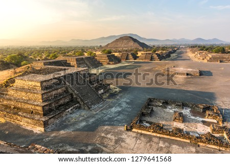 View of the pyramids of Teotihuacan (nahuatl name) , ancient Mesoamerican city in Mexico, located in the Valley of Mexico, near of Mexico City -Teotihuacan pyramids Moon and Sun -Aztecs  #1279641568